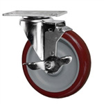 "5"" Swivel Caster with Polyurethane Tread and top lock brake"