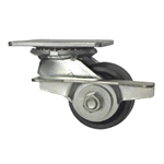 3-1/4 Inch Heavy Low Profile Swivel Caster with Brake, Glass Filled Nylon Wheel and Ball Bearings
