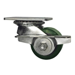 3-1/4 Inch Low Profile Swivel Caster with Polyurethane Tread Wheel, Ball Bearings, and Brake