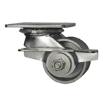 3-1/4 Inch Heavy Duty Low Profile Swivel Caster with Semi Steel Wheel, Ball Bearings, and Brake