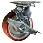 4 Inch Caster with Poly Tread  Aluminum Core, Ball Bearings and Brake