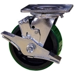 4 Inch Swivel Caster with Green Polyurethane Tread Wheel, Ball Bearings and Brake