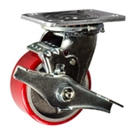 4 Inch Swivel Caster with Polyurethane Tread Wheel, Ball Bearings and Brake