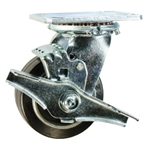 4 Inch Swivel Caster with Rubber Tread on Aluminum Core Wheel, Ball Bearings and Brake