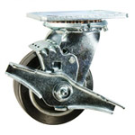 4 Inch Swivel Caster with Rubber Tread on Aluminum Core Wheel and Brake