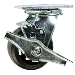 4 Inch Swivel Caster with Rubber Tread Wheel, Ball Bearings and Brake