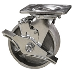 4 Inch Swivel Caster - Semi Steel Wheel with Ball Bearings and Brake
