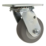 "4"" Swivel Caster with Thermoplastic Rubber Flat Tread Wheel and Ball Bearings"