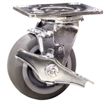 "4"" Swivel Caster w/ Brake and Thermoplastic Rubber Tread Wheel and Ball Bearings"