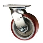5 Inch Swivel Caster with Polyurethane Tread on Aluminum Core Wheel and Ball Bearings