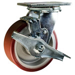 5 Inch Caster with Poly Tread  Aluminum Core and Brake