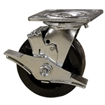 5 Inch Swivel Caster with Phenolic Wheel, Ball Bearings and Brake