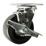5 Inch Swivel Caster with Polyolefin Wheel, Ball Bearings and Brake