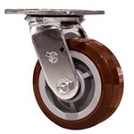 5 Inch Swivel Caster with Polyurethane Tread on Poly Core Wheel and Ball Bearings