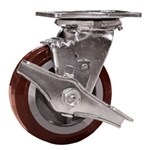 5 Inch Swivel Caster with Polyurethane Tread on Poly Core Wheel, Ball Bearings and Brake