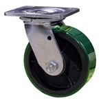 5 Inch Swivel Caster with Green Polyurethane Tread Wheel and Ball Bearings