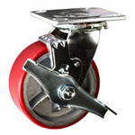 5 Inch Swivel Caster with Polyurethane Tread Wheel - Brake