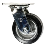 5 Inch Swivel Caster with Rubber Tread on Aluminum Core Wheel and Ball Bearings