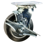 5 Inch Swivel Caster with Rubber Tread on Aluminum Core Wheel, Ball Bearings, and Brake