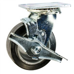 5 Inch Swivel Caster with Rubber Tread on Aluminum Core Wheel w/ Brake