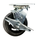 5 Inch Swivel Caster with Rubber Tread Wheel, Ball Bearings and Brake