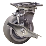 "5"" Swivel Caster w/ Brake and Thermoplastic Rubber Tread Wheel with Ball Bearings"