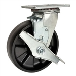 Swivel Caster with Brake Glass Filled Nylon Wheel and Ball Bearings
