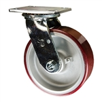 6 Inch Swivel Caster with Polyurethane Tread on Aluminum Core Wheel and Ball Bearings