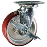 6 Inch Swivel Caster with Brake and Polyurethane Tread on Aluminum Core Wheel and Ball Bearings