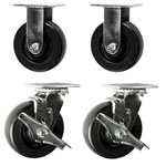 6 Inch Polyolefin Wheel Toolbox Casters with sealed precision bearings