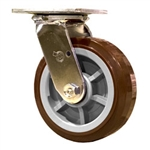 6 Inch Swivel Caster with Polyurethane Tread on Poly Core Wheel and Ball Bearings