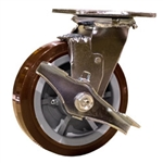 6 Inch Swivel Caster with Polyurethane Tread on Poly Core Wheel, Ball Bearings and Brake