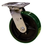 6 Inch Swivel Caster with Green Polyurethane Tread Wheel and Ball Bearings