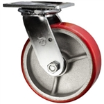 6 Inch Swivel Caster with Polyurethane Tread Wheel and Ball Bearings
