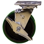 6 Inch Swivel Caster with Green Polyurethane Tread Wheel, Ball Bearings and Brake