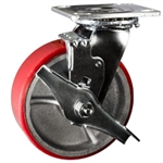 6 Inch Swivel Caster with Polyurethane Tread Wheel, Ball Bearings and Brake