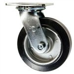 6 Inch Swivel Caster with Rubber Tread on Aluminum Core Wheel