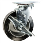 6 Inch Swivel Caster with Rubber Tread on Aluminum Core Wheel with Brake
