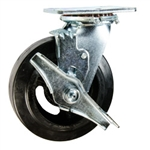 6 Inch Swivel Caster with Rubber Tread Wheel, Ball Bearings and Brake