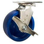 6 Inch Swivel Caster with brake - Solid Polyurethane Wheel with ball bearings