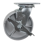 6 Inch Swivel Caster with Semi Steel Wheel, Ball Bearings and Brake