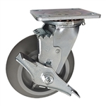 "6"" Swivel Caster w/ Brake and Thermoplastic Rubber Tread Wheel with Ball Bearings"