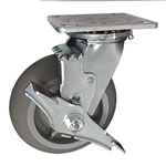 6 inch Swivel Soft Tread Cart Caster with top lock brake