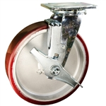 8 Inch Swivel Caster with Brake, and Polyurethane Tread on Aluminum Core Wheel and Ball Bearings