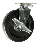8 Inch Polyolefin Wheel Swivel Caster, Ball Bearings and Brake