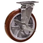 8 Inch Swivel Caster with Polyurethane Tread on Poly Core Wheel, Ball Bearings and Brake
