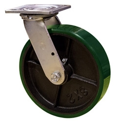 8 Inch Swivel Caster with Polyurethane Tread Wheel and Ball Bearings