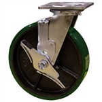 8 Inch Swivel Caster with Polyurethane Tread Wheel, Ball Bearings and Brake