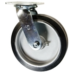 8 Inch Swivel Caster with Rubber Tread on Aluminum Core Wheel and Ball Bearings