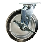 8 Inch Swivel Caster with Rubber Tread on Aluminum Core Wheel, Ball Bearings, and Brake
